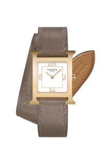 H Hour 26x26mm鍍玫瑰金錶殼腕錶,雙圈亞麻灰色小牛皮錶帶NTD107900