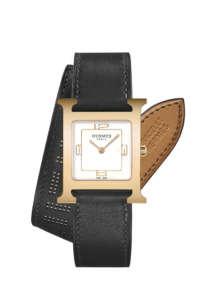 H Hour 26x26mm鍍玫瑰金錶殼腕錶,雙圈黑色Barenia小牛皮錶帶NTD107900