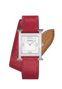 H Hour 21x21mm 316L精鋼錶殼腕錶,雙圈朱紅色小牛皮錶帶NTD95000