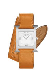H Hour 26x26mm 316L精鋼錶殼腕錶,雙圈橘色小牛皮錶帶NTD97000